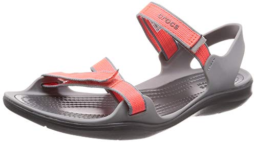 Crocs Damen W Swiftwater Webbing Sandal 204804 Badeschuhe, Orange (Orange 204804-6pk), 36/37 EU