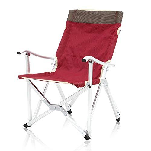 DANDAN-Deckchairs Outdoor Aluminium Klappstuhl Strand Camping Tragbare Nickerchen Mittagspause Liegestuhl Angeln Stuhl Lounge Chair (Color : Dark red, Size : 48x45x68cm)