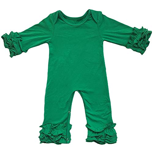 Toddler Little Girls Baby Christmas Romper Icing Ruffle Bottoms Long Sleeve Jumpsuit Playwear Pants Floral Printed Pajamas Nightwear Homewear Summer Fall Birthday Outfits Party Clothes Green 9-12M