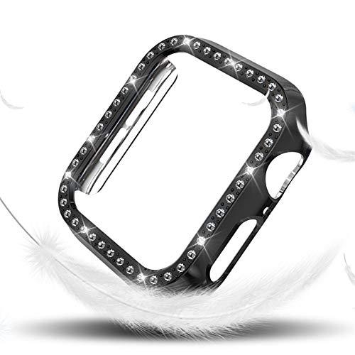 ZLRFCOK Funda de Diamantes para Mujeres para la Serie de Relojes de Apple 4 40mm 44mm para Cubierta Protectora de iWatch PC Estuche de Reloj Cáscara (Color : Black, Dial Diameter : (Series 4) 40mm)