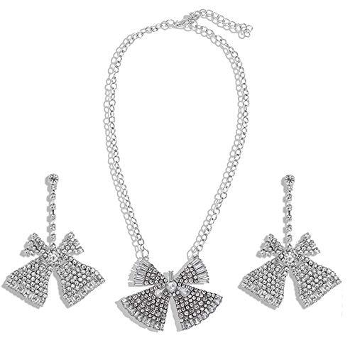 OUHUI Fashion Imitated Diamond Pendientes de Gota para Las Mujeres de Nudo Pendientes de la Joyería de la Cadena de Oído Regalos para Las Mujeres Exquisito/C
