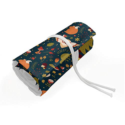 Ambesonne Woodland Roll Up Pencil Holder, Forest Animals Pattern Fox Squirrel and Flying Owl Acorn Mushroom, Painting Drawing Pencils Case for Artists Students, 72 Loops, Teal Orange