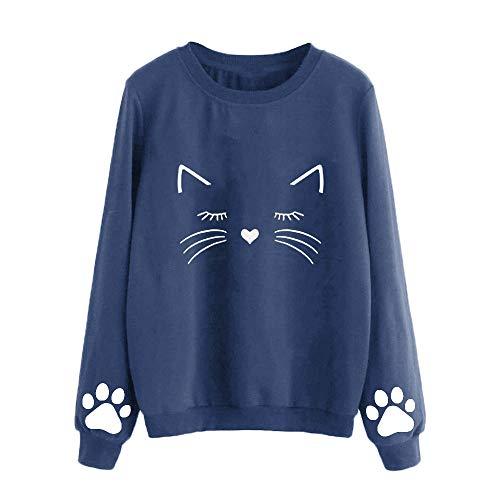 Fatchot Damen Sweatshirt mit süßem Katzenmotiv, langärmelig, Bedruckt, Sweatshirt, Blusen L Navy