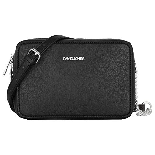 David Jones - Damen Kleine Umhängetasche Quadratisch - Schultertasche Kette Handtasche PU Leder - Crossbody Messenger Bag - Abendtasche Clutch Pochette City Tasche Mode Elegant - Schwarz
