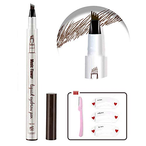 Eyebrow Tattoo Pen,Tat Brow Microblading Eyebrow Pencil Waterproof Microblade Brow Pen Make Up with a Micro-Fork Tip Applicator Creates Natural Looking Brows Effortlessly and Stays on All Day