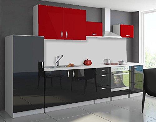 tendencio Cuisine complète 3m20 OXIN laquée Noir et Blanc (Noir et Rouge)