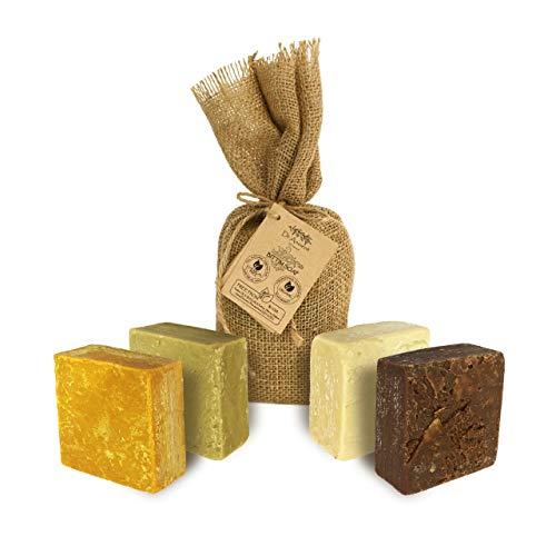 Organische natürliche traditionelle handgemachte antike Eselsmilch Seife + Kiefernteer Seife + Aleppo Seife + Bittim Seife - absolut keine Chemikalien!