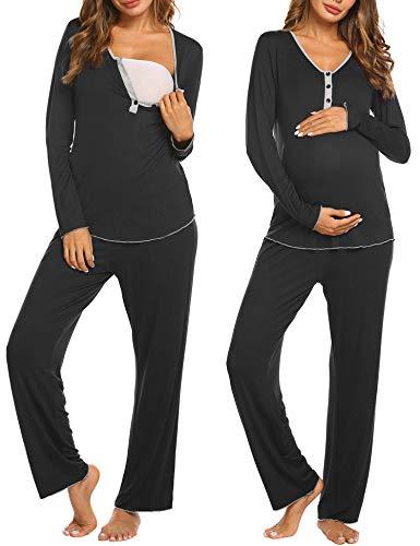 MAXMODA Damen Schlafanzug/Pyjama für Schwangerschaft und Stillzeit/Langarm mit Knöpfeleiste