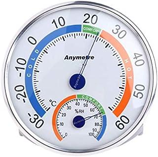 Wishlink Termómetro de forma redonda para interior y exterior, termómetro para la temperatura del jardín, higrómetro cómod...