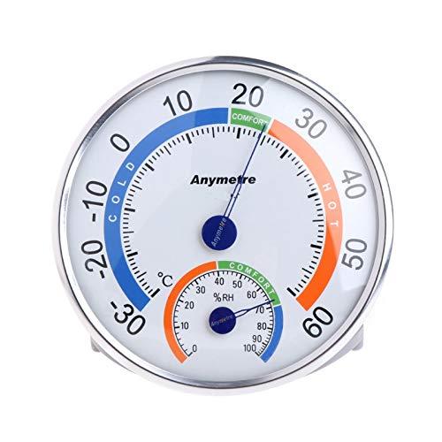 Wishlink Termómetro de forma redonda para interior y exterior, termómetro para la temperatura del jardín, higrómetro cómodo, comprobador del tiempo y la humedad del aire