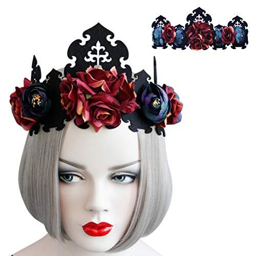 Diadema con diseo de calavera rosa con corona de flores y diseo de calavera de Halloween (corona roja oscura)