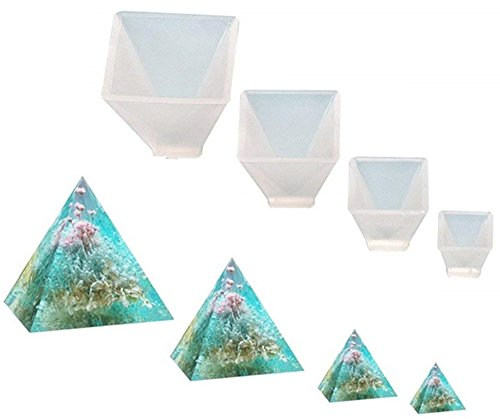 Garloy Pyramid Jewelry Casting Molds Silicone Resin Jewelry Molds for DIY Jewelry Craft Making, The Multi-Faceted Silicone Mold for Making Clay, Crafting, Resin Epoxy(Pack of 4)