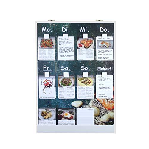 Rogge´s RelaxGrill CookPins D1 Essensplaner mit 125 Rezeptkarten, wandhängend, Speiseplan, Menütafel, Essensplan, Rezeptkarten, Kochrezepte, Rezepttafel, Kochtafel, Kochbuch, Dekoration Küche