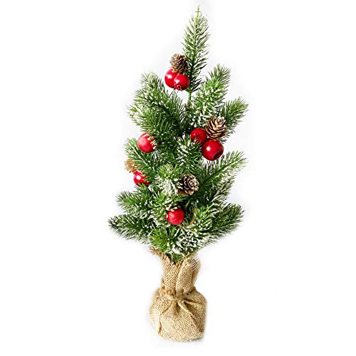 10Leccion Mini Christmas Tree Décor with Red Ball Ornament Red Ball Ornaments, Red Apples and Pinecones, Christmas Centerpiece Table Decorations,Small Xmas Desk Tree, 20inch