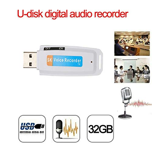 Dicteerapparaat, digitaal, USB-harde schijf, draagbaar, voice-recorder, audio met flash-geheugen, kleine magneetophone voor conferenties, vergaderingen, interviews, mini-recorder, audio-SD-kaart 32 GB S Wit.