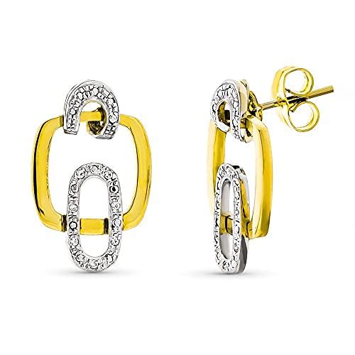 Pendientes oro bicolor 18k mujer largos formas cuadradas caladas combinadas circonitas presión