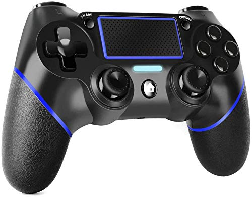 PS4 Controller Wireless Gamepad for Playstation 4 with Motion Motors and Audio Function, Mini LED Indicator, USB Cable(Black&Blue)