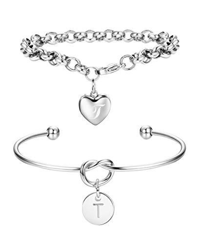FIBO STEEL 2 Pcs Initial Bracelets for Women Girls Customized Love Knot Bridesmaids Bracelet Jewelry T
