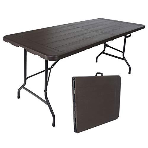 TRUTZHOLM® Bierzelttisch Klapptisch aus Kunstoff Grau Holzoptik 180 x 75 cm klappbar Campingtisch Partytisch Gartentisch