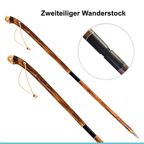 Jagd-Schnitzerei Peter Wanderstock Holz teilbar zweiteiliger Wanderstock 15 Zeichen inklusive