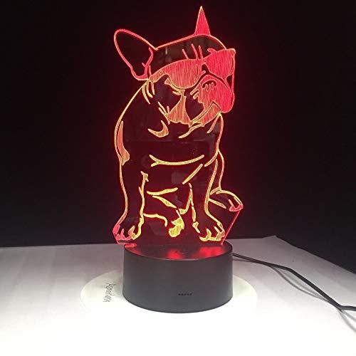 tzxdbh 3D nachtlampje, led-optisch fantoomlampje, dragen zonnebril hond S voor Touch Ara energiebesparend nachtlampje decoratie, slaapkamer met afstandsbediening