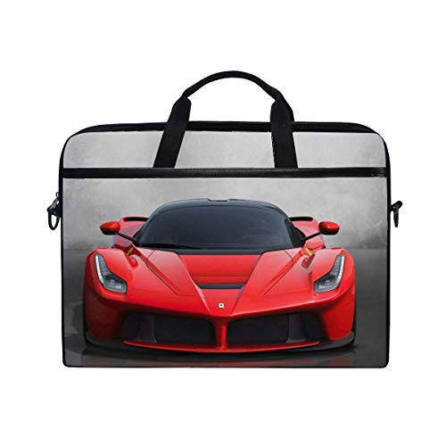Ferrari Red Cars Sport Laptop Shoulder Messenger Bag Case Sleeve for 14 Inch to 15.6 Inch with Adjustable Notebook Shoulder Strap
