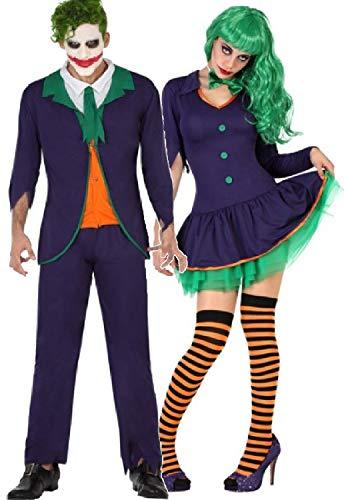 Fancy Me Paare passende Damen & Herren Lustige Bösewicht Clown Jester Halloween TV-Buch Film Kostüm Outfits