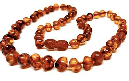 45 cm, collana in vera ambra baltica per adulti, con perline annodate, colore cognac