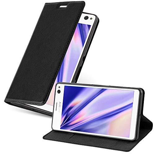Cadorabo Hülle für Sony Xperia C4 - Hülle in Nacht SCHWARZ – Handyhülle mit Magnetverschluss, Standfunktion & Kartenfach - Case Cover Schutzhülle Etui Tasche Book Klapp Style