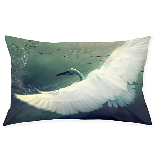 Kidhome 2030 Inch Throw Pillow Cases Swan Feather Decorative Pillowcase Cushion Cover for Sofa