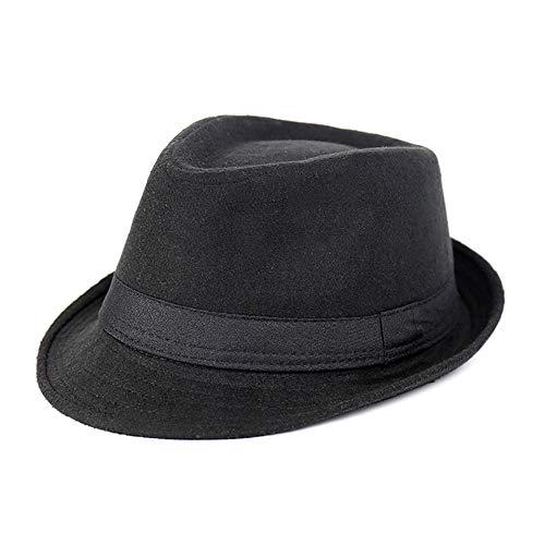 Culer Clásicos del sombrero de ala de los hombres de la trenza de paja de ala corta Panamá Jazz gorro de lana sombrero de época (negro)