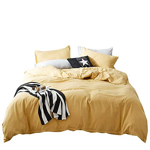 FenDie Solid Cotton Microfiber Duvet Cover Lightweight Polyester Yellow Duvet Cover King Soft Wahsed Bedding Set 3 Piece (1 Duvet Cover + 2 Pillowcases), Skin-Friendly and Comfy