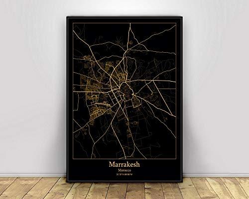 Impresión De Lienzo, Mapas De Luz De La Ciudad Negros Y Dorados De Marrakech, Marruecos, Carteles De Mapas De Ciudades Del Mundo Personalizados, Impresiones En Lienzo, Arte De Pared De Esti,60X90Cm