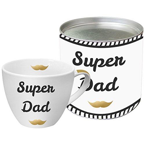 PPD Super Dad Real Gold Porzellantasse, Kaffeetasse, Kaffee Becher, New Bone China, Weiß / Schwarz / Echtgold, 450 ml, 603066