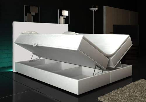 Wohnen-Luxus Boxspringbett Weiß Lift 180x200 inkl. 2 Bettkasten Hotelbett Bett LED Rio Lift