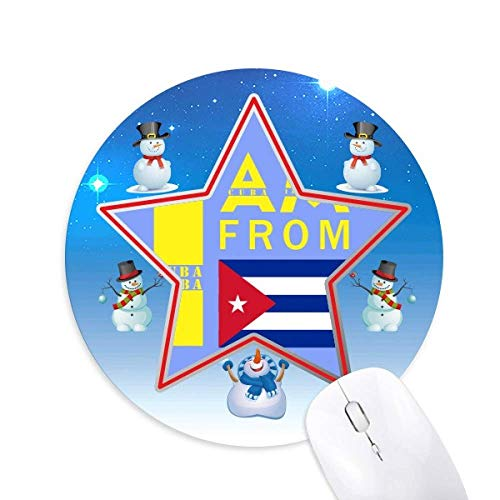 I am from Cuba Snowman Mouse Pad Round Star Mat