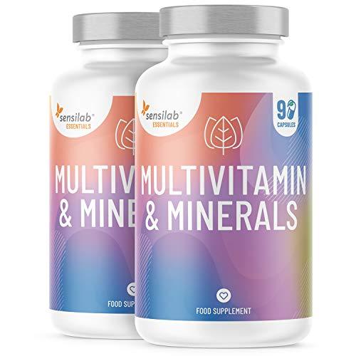 Essentials Multivitamin & Mineralien Komplex   180 (2x90) Kapseln Hochdosiert   Alle essentiellen A-Z Vitamine und 3 Mineralstoffe   1 Kapsel täglich   ausreichend für 6 Monate