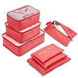 Organizzatori da Viaggio,LOSMILE Organizer Valigie Set di 7, Cubi di Imballaggio Sacchetto di Stoccaggio Perfetto di Viaggio Dei Bagagli Organizzatore.(Rosso Anguria)