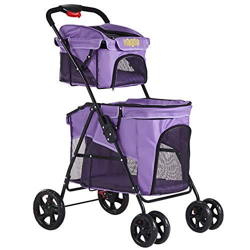 VIAGDO Cochecito doble para 2 perros y gatos, 4 ruedas para perros pequeños, cochecito plegable de viaje para gatos con sistema de suspensión para perros pequeños, medianos y gatos