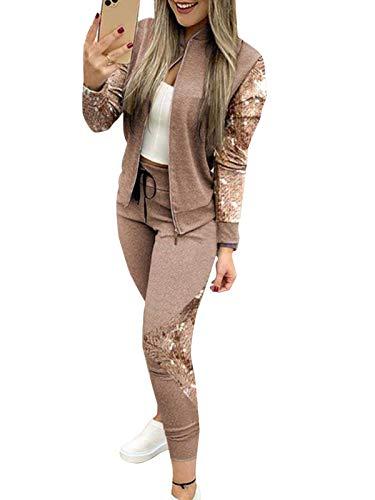 Minetom Damen Chic Sequin Patchwork Trainingsanzug Jacke mit Reißverschluss Mode Frühling Langarm Mantel Hose Sportanzüge 2 Stück B Braun 42