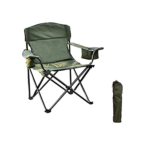 NAKUPENDA Outdoor Camping Chair with Cooler Bag Folding Camping Portable Chair Steel Frame Collapsible Support 350 lbs High Back Padded Thicken Oxford with Armrests, Storage Bag, Cup Holder, Carry Bag