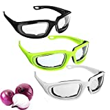 3 Pcs Onion Goggles, Tear Free Onion Glasses with 3 Pairs of Earplugs, Kitchen Gadget for Chopping Onion Cooking Grilling, Tearless Dust Proof Eye Protector for BBQ, Women, Men, Cleaning