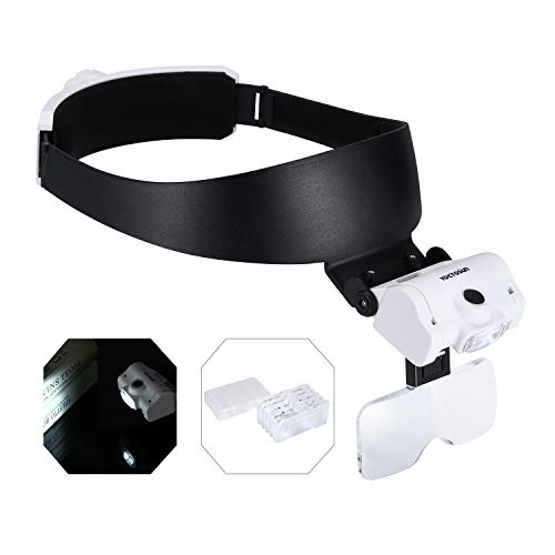 YOCTOSUN Headband Magnifier with 2 LED Lights and 5...