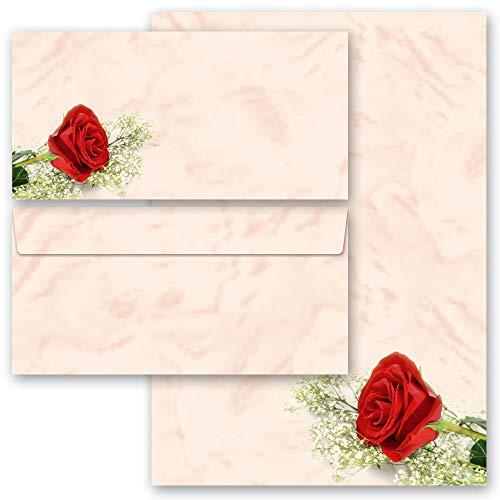 Briefpapier Set, 40 tlg. Blumenmotiv, ROTE ROSE Blumen & Blüten, Liebe & Hochzeit 20 Blatt Briefpapier + 20 passende Briefumschläge DIN LANG ohne Fenster   Paper-Media