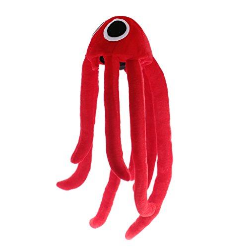 MagiDeal Cappelli di Velluto Forma di Polpo Grandissimo Rosso Costume per Cosplay Regalo Divertente Scherzi Natale Capodanno Carnevale Halloween