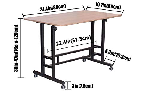 Akway Small Computer Desk Standing Desk with Wheels 31.4 x 19.6 inches Height Adjustable Desk Sit Stand Desk Rolling Cart Compact Computer Desk, Teak
