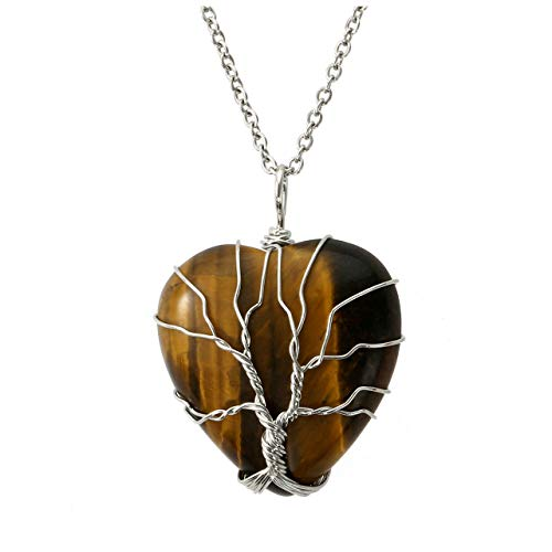 Top Plaza Natural Tiger Eye Healing Crytal Necklace Silver Tree of Life Wire Wrapped Heart Shape Stone Pendant for Womens Girls Ladies