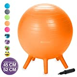 Gaiam Kids Stay-N-Play Children's Balance Ball - Flexible School Chair Active Classroom Desk Alternative Seating | Built-In Stay-Put Soft Stability Legs, Includes Air Pump, 52cm, Orange