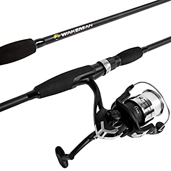Wakeman Strike Series Spinning Rod and Reel Blackout Combo Length  78 inches Reel Width  5.75 inches Reel Height  5 inches