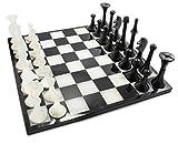 LUHOM LUJOSO HOGAR MEXICO Juego de ajedrez 35 cm x 35 cm de mármol Natural en Monterrey Negro y Blanco Bego